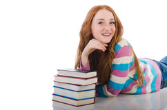 Estudiante joven con los libros Fotos de archivo