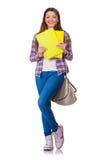 Estudiante joven con los libros aislados Imagen de archivo libre de regalías
