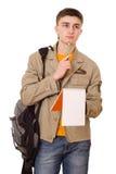 Estudiante joven con un cuaderno Imágenes de archivo libres de regalías