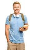 Estudiante joven confiado de nuevo a escuela en el fondo blanco Foto de archivo