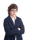 Estudiante joven del empollón tirado contra el fondo blanco Fotos de archivo