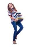 Estudiante joven en blanco Imágenes de archivo libres de regalías