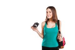 Estudiante joven hermoso que presenta con Foto de archivo libre de regalías