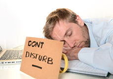 Estudiante joven Overwhelmed Dont Disturb Fotografía de archivo libre de regalías