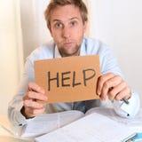 Estudiante joven Overwhelmed que pide ayuda Foto de archivo libre de regalías