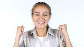 Estudiante joven Reacting To Success, emocionado Imagen de archivo libre de regalías