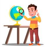 Estudiante Looking Through un globo de la lupa, vector de la lección de la geografía Ilustración aislada libre illustration