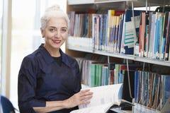 Estudiante maduro femenino Studying In Library foto de archivo libre de regalías