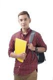 Estudiante masculino feliz que sonríe - aislado sobre un fondo blanco foto de archivo