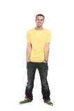 Estudiante masculino feliz que sonríe - aislado sobre un fondo blanco Imagen de archivo