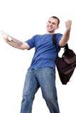 Estudiante masculino muy feliz Imagen de archivo libre de regalías