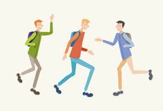 Estudiante Meeting, adolescentes de la gente joven que saludan la comunicación ilustración del vector