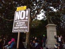 Estudiante Organizer, protesta en Washington Square Park, NYC, NY, los E.E.U.U. Fotografía de archivo