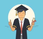Estudiante orgulloso que lleva la capa y el sombrero negros de la ceremonia en día de graduación ilustración del vector