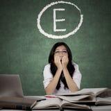 Estudiante preocupante con los grados de E en la pizarra Foto de archivo
