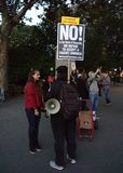 Estudiante Protester, Washington Square Park, NYC, NY, los E.E.U.U. Fotos de archivo