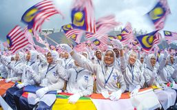 Estudiante que agita la bandera de Malasia foto de archivo libre de regalías
