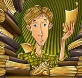 Estudiante que aprende difícilmente. stock de ilustración