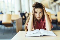 Estudiante que estudia en biblioteca Foto de archivo
