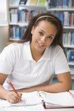 Estudiante que estudia en biblioteca Fotografía de archivo