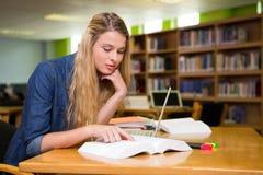 Estudiante que estudia en la biblioteca con el ordenador portátil Fotografía de archivo libre de regalías
