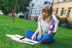 Estudiante que estudia en parque Foto de archivo