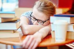 Estudiante que estudia o que se prepara para los exámenes Imágenes de archivo libres de regalías