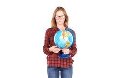 Estudiante que presenta con el globo Fotos de archivo libres de regalías