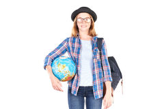 Estudiante que presenta con el globo Fotografía de archivo