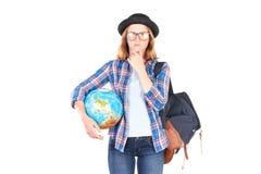 Estudiante que presenta con el globo Imagen de archivo
