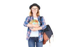 Estudiante que presenta con el globo Imagen de archivo libre de regalías
