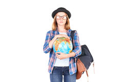 Estudiante que presenta con el globo Foto de archivo