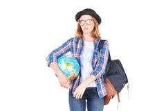Estudiante que presenta con el globo Imagenes de archivo