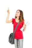 Estudiante que señala al espacio de la copia Imágenes de archivo libres de regalías