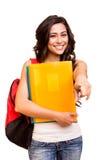 Estudiante que señala el frente Imagen de archivo libre de regalías