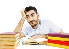 Estudiante que se prepara para los exámenes Foto de archivo libre de regalías