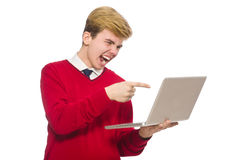 Estudiante que usa el ordenador portátil aislado en blanco Imagen de archivo