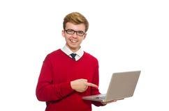 Estudiante que usa el ordenador portátil aislado en blanco Foto de archivo