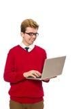 Estudiante que usa la computadora portátil Fotos de archivo libres de regalías