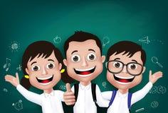 estudiante realista Boys de los niños 3D y muchachas felices ilustración del vector