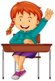 Estudiante sentarse en el escritorio de la escuela libre illustration
