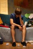 Estudiante soñoliento antes del examen Fotografía de archivo