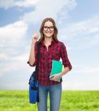 Estudiante sonriente con el bolso y los cuadernos Imagen de archivo