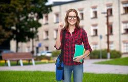 Estudiante sonriente con el bolso y los cuadernos Foto de archivo