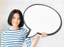 Estudiante sonriente con la burbuja en blanco del texto Imagenes de archivo