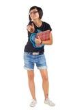 Estudiante sonriente con la carpeta roja, pulgares para arriba Imagen de archivo libre de regalías