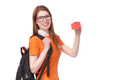 Estudiante sonriente con la mochila Imagen de archivo