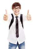 Estudiante sonriente con los pulgares para arriba Imágenes de archivo libres de regalías