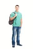 Estudiante sonriente feliz con la mochila Imagenes de archivo
