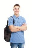 Estudiante sonriente feliz con la mochila aislada en wh Imágenes de archivo libres de regalías
